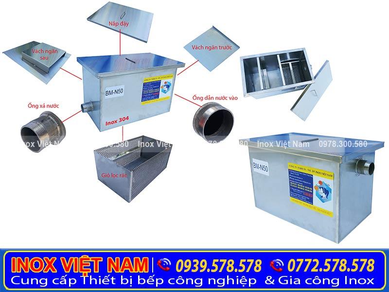Bẫy mỡ gia đình 50 lít được sản xuất từ chất liệu inox 304, với 3 ngăn. Mỗi ngăn sẽ đảm nhận 1 vai trò riêng biệt.