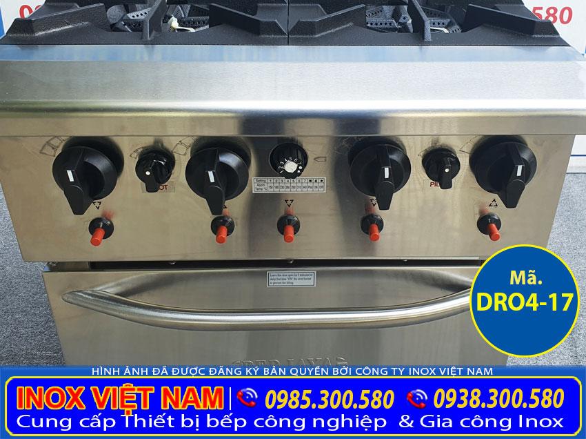 Cận cảnh chi tiết các công tắt gas, các nút điều chỉnh nhiệt độ của bếp âu 4 họng có lò nướng berjaya DRO4-17.