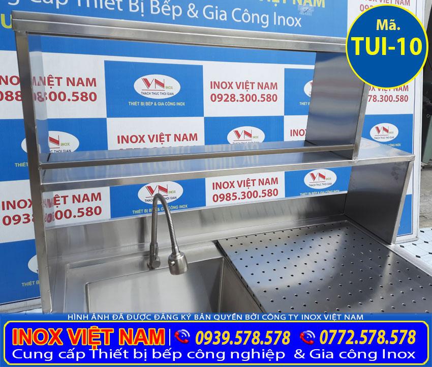 Chi tiết các khung kệ bồn rửa chén có tủ inox 304.