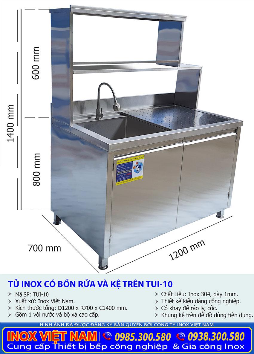 Kích thước tủ đựng chén bát bằng inox, chậu rửa inox liền tủ TUI-10.