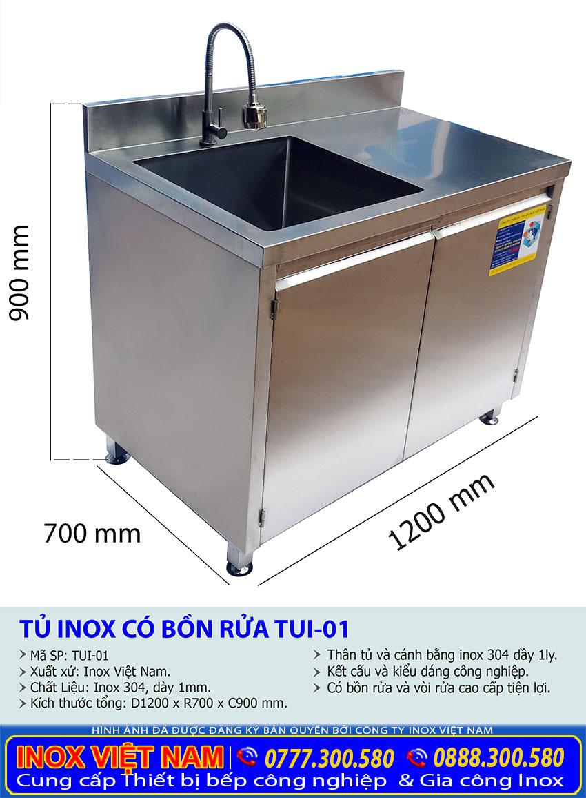 Kích thước tủ bếp inox có bồn rửa, tủ đựng chén bát bằng inox 304.
