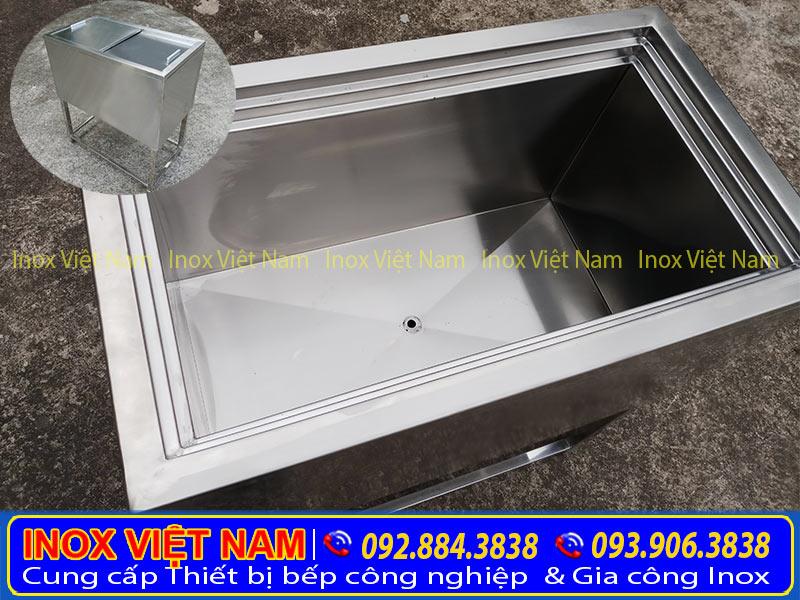 Cấu tạo thùng đá inox 304, thùng đá inox âm bàn chất lượng.