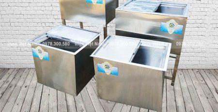 Báo giá thùng đá âm bàn, thùng đựng đá inox chân cao, thùng đá inox tại TPHCM.
