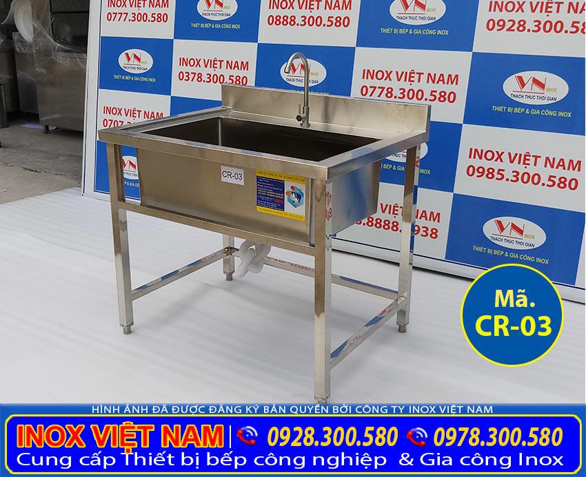 Bồn rửa chén 1 ngăn lớn inox 304 có khung chân CR-03