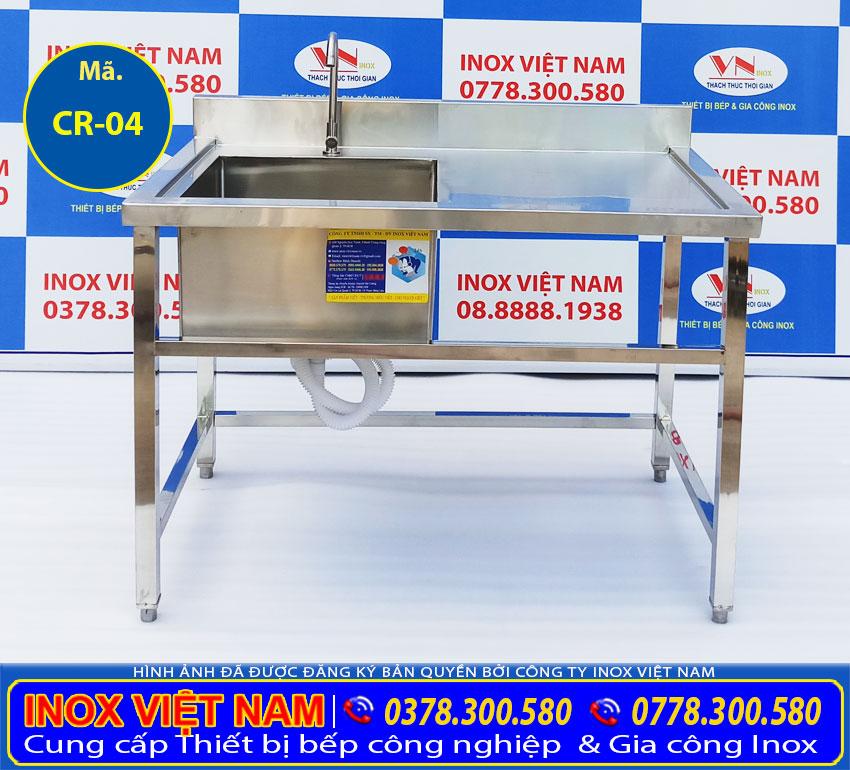Thiết bị bếp inox công nghiệp - Địa chỉ mua chậu rửa đơn bàn rửa cánh phải CR-04 giá tốt chính hãng chất lượng (Ảnh thật tế).