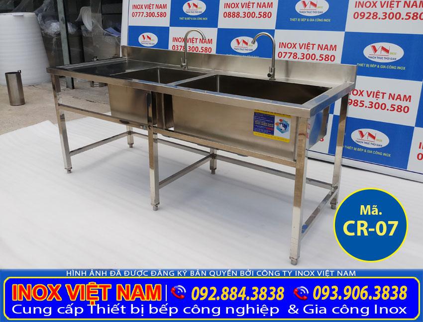 Địa chỉ mua chậu rửa đôi hộc lớn hộc nhỏ có bàn rửa cánh trái CR-07 giá tốt chất lượng.