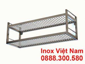 Kệ Inox Song 2 Tầng Treo Tường KEI-04