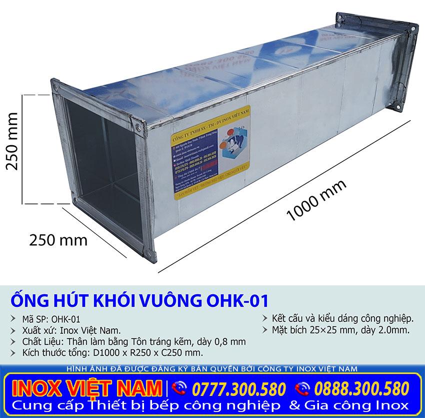 Kích thước đường ống dẫn khói, ống hút khói nhà bếp, ống thông khói bếp OHK-01.