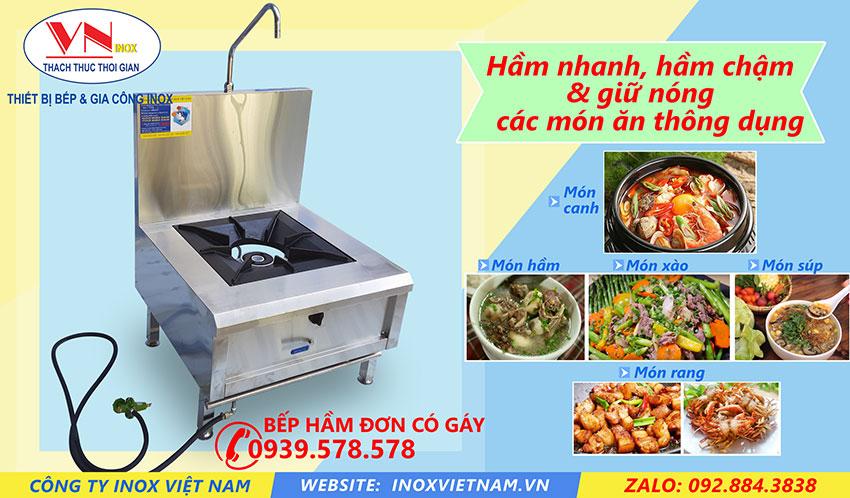 Bếp hầm đơn có gáy mẫu bếp á công nghiệp cao cấp của Inox Việt Nam.