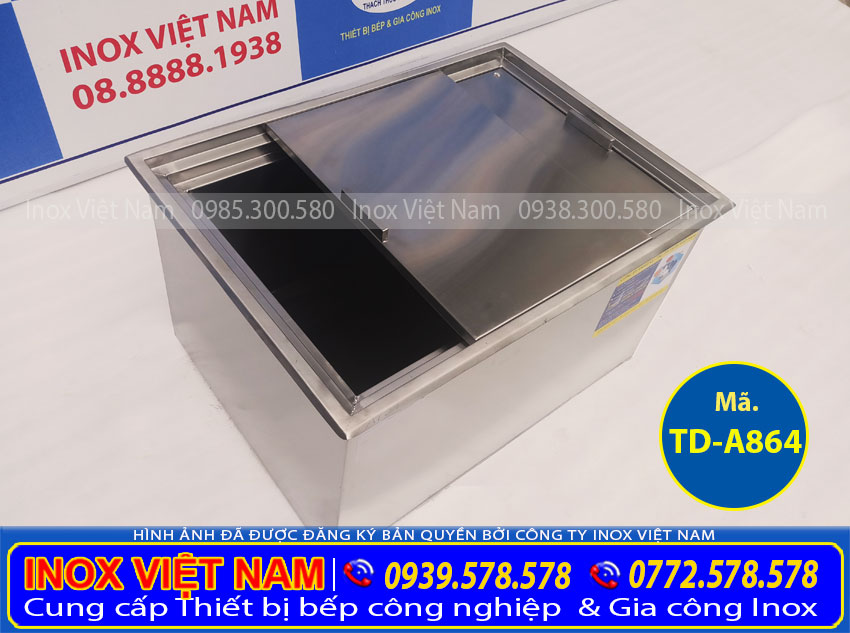 Báo giá thùng đá inox âm bàn, tủ đá inox, thùng đựng đá inox theo yêu cầu tại TPHCM (Ảnh thật tế).