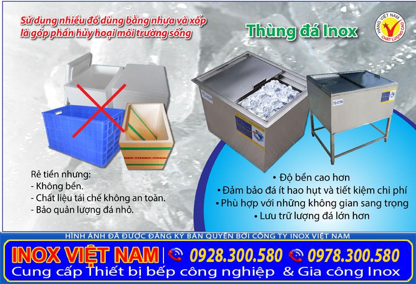 Thùng đá inox 304, thùng đá inox quầy bar, thùng đá inox quầy pha chế giúp bảo vệ môi trường.