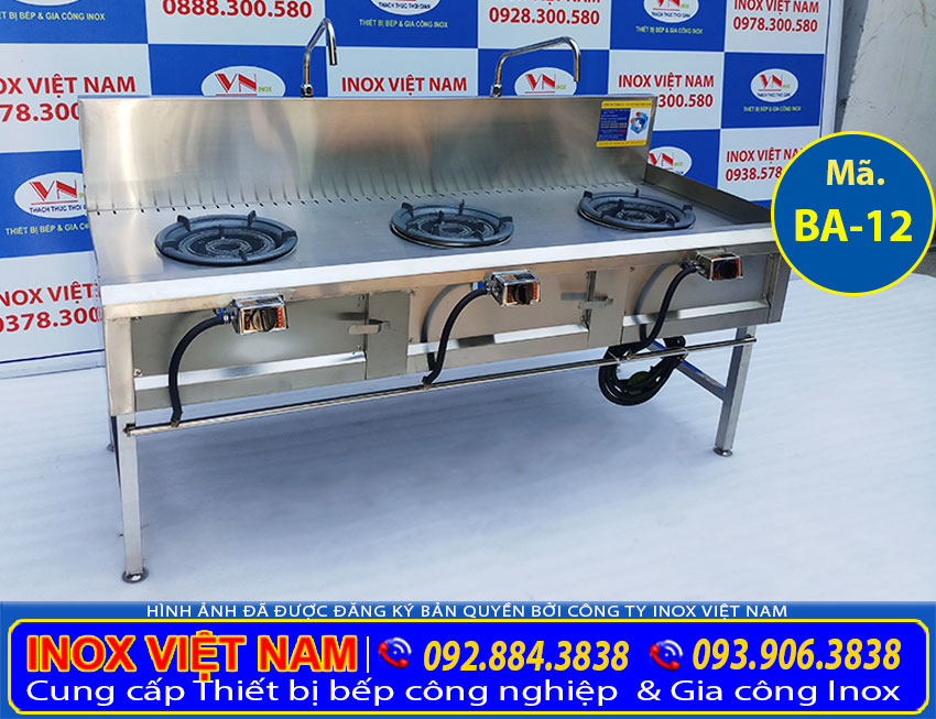 Thiết bị bếp inox công nghiệp - Địa chỉ mua bếp á 3 họng kiềng tô thấp á, bếp khè 3 họng, bếp á 3 họng công nghiệp chất lượng chính hãng giá tốt nhất tại TPHCM.