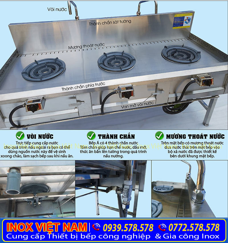 Bếp á thấp áp 3 họng đốt tại IVN sản phẩm thiết bị bếp á inox công nghiệp tại xưởng của chúng tôi. Liên hệ mua ngay.