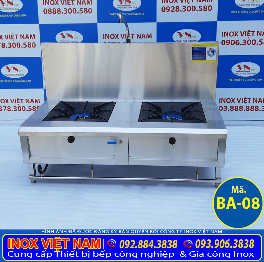 Bếp hầm đôi công nghiệp có gáy, bếp khè gas công nghiệp 2 họng giá tốt chất lượng tại Inox Việt Nam.