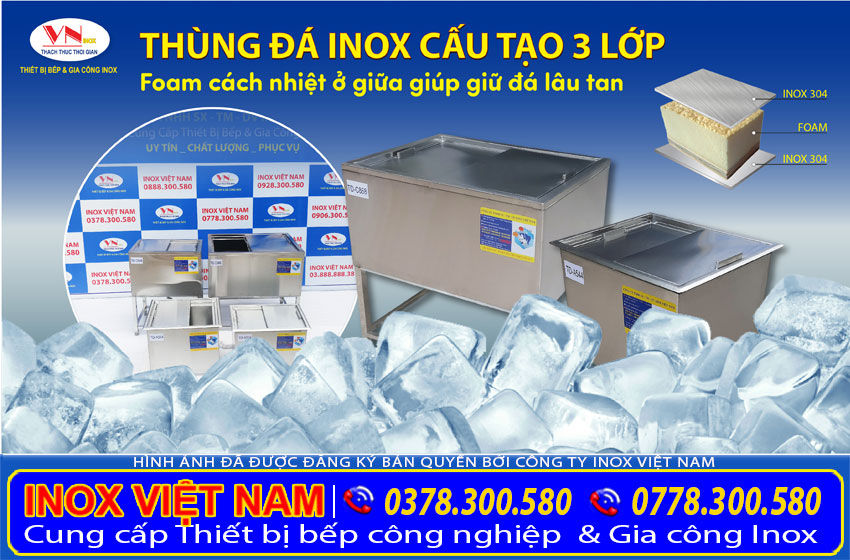Thùng đá inox quầy bar TD-A544, tủ đá quầy bar, thùng đá inox âm bàn được cấu tạo bằng 2 lớp inox dày từ 1.0 mm, inox không rỉ.
