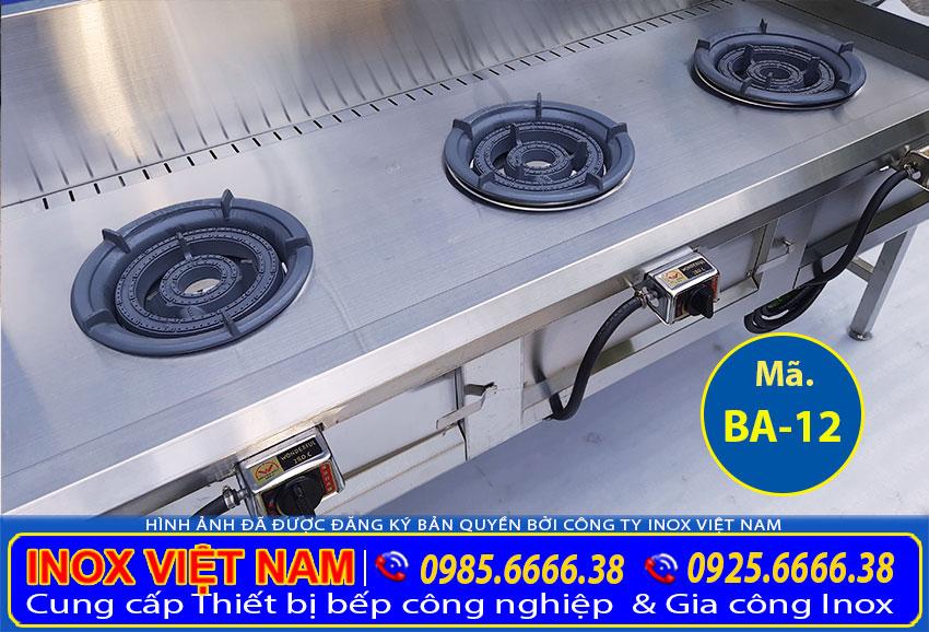 Liên hệ Inox Việt Nam để được báo giá bếp á 3 họng kiềng tô thấp áp, bếp công nghiệp inox 3 họng loại thấp áp, bếp gas công nghiệp 3 họng chính hãng,