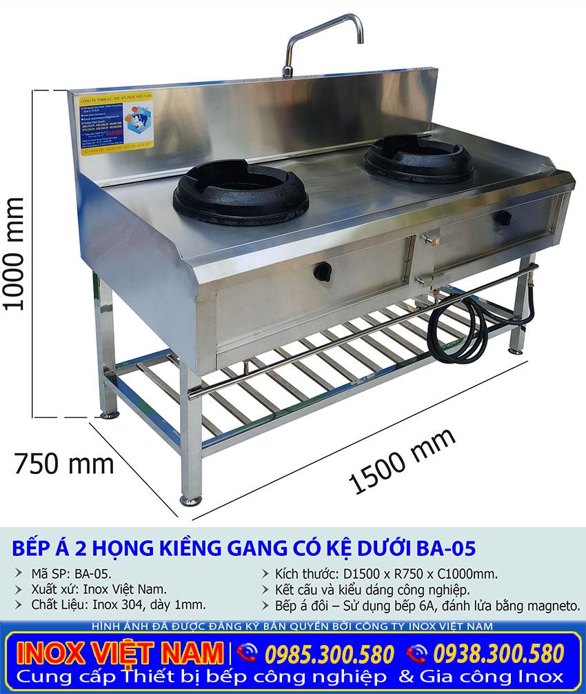 Kích thước bếp khè gas công nghiệp 2 họng kiềng gang có kệ dưới BA-05.