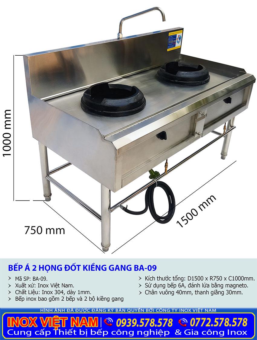 Kích thước bếp gas công nghiệp 2 họng đốt, bếp khè 2 họng kiềng gang BA-09.