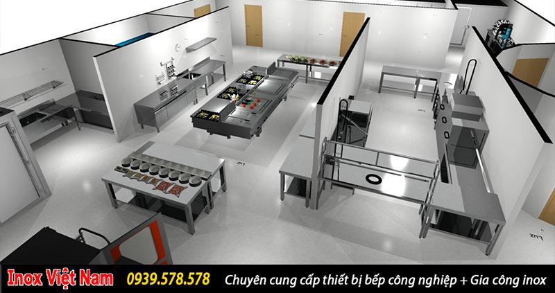 thiết kế bếp nhà hàng, bếp công nghiệp cần phải đảm bảo về ánh sáng