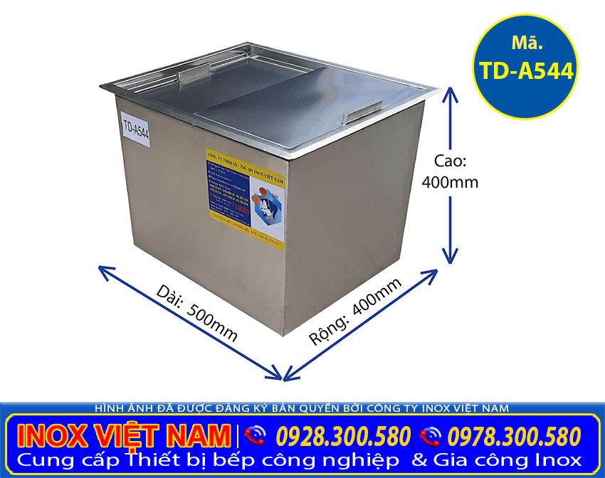 Kích thước thông số kỹ thuật thùng đá inox âm bàn quầy bar TD-A544 , tủ đá inox quầy bar cao cấp.
