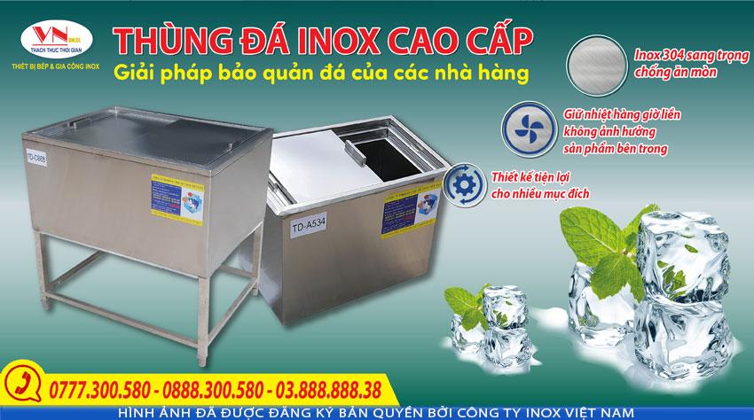 Mua ngay thùng đá inox, tủ đá inox 304, thùng đựng đá inox giá tốt chỉ có tại Thiết bị bếp inox công nghiệp (Ảnh thật tế)