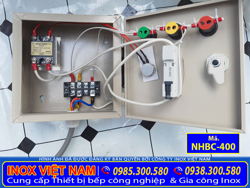 Chi tiết hộp điện nồi làm bánh cuốn bằng điện, nồi hấp điện công nghiệp.