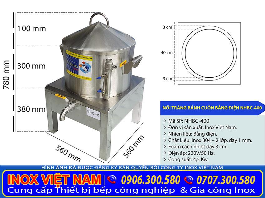 Kích thước nồi tráng bánh cuốn inox 304, máy làm bánh cuốn bằng điện.