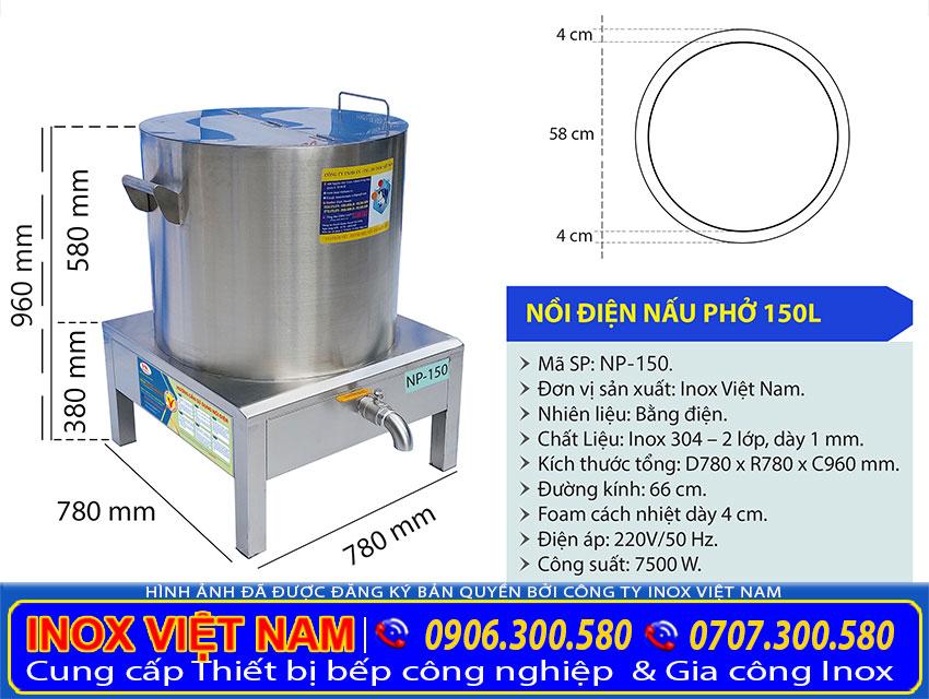 Kích thước nồi nấu phở inox, nồi nấu phở bằng điện 150L NP-150.