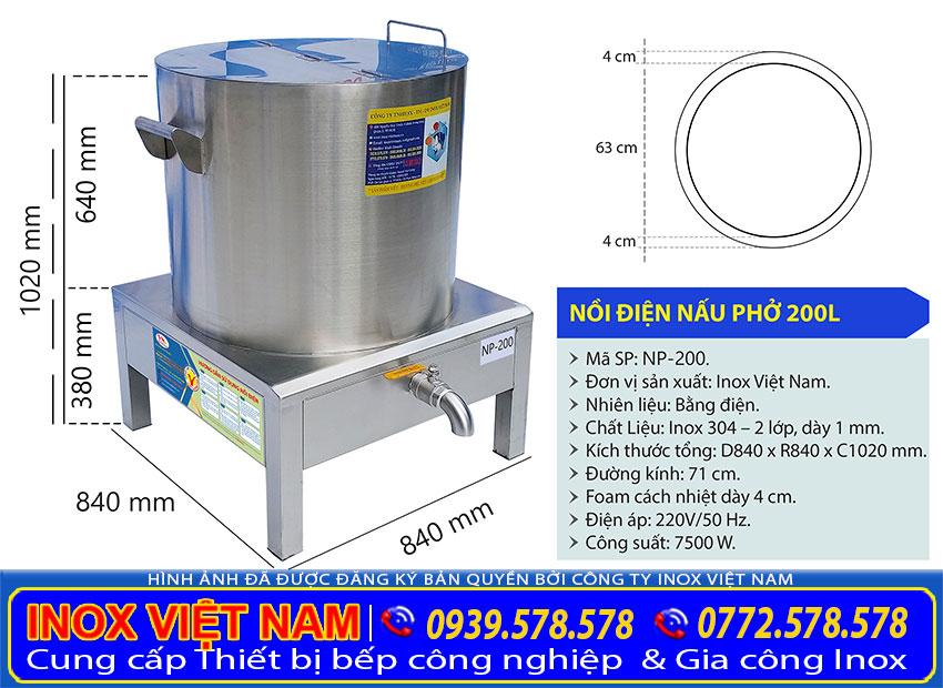 Kích thước nồi nấu phở bằng điện 200L của Thiết bị bếp inox công nghiệp.