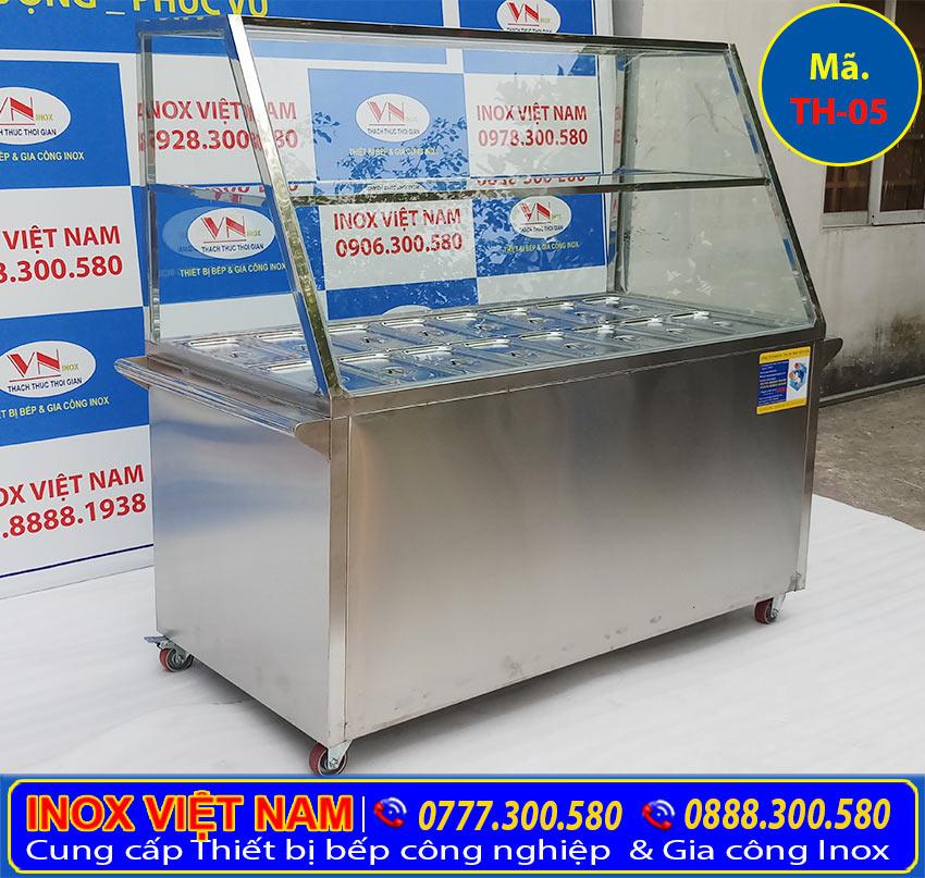 Tủ hâm nóng thức ăn 16 khay có mái kính TH-05 (Ảnh thật tế).