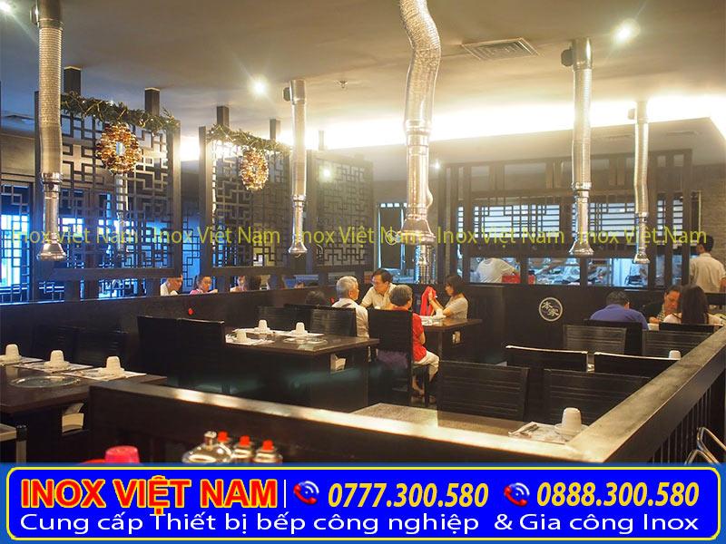 Lắp đặt hệ thống chụp hút khói, hệ thống chụp hút mùi nhà hàng, khách sạn, chụp hút khói quán nướng tại bàn giúp mang đến không gian trong lành.