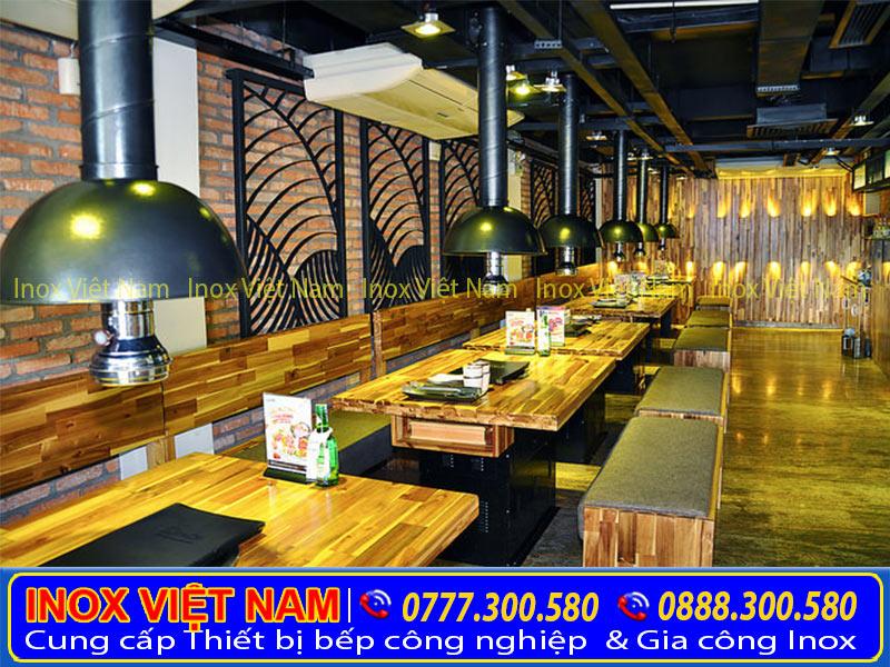 Hệ thống hút khói quán nướng của Inox Việt Nam mang đến không gian đẹp, sạch sẽ, thoáng mát.