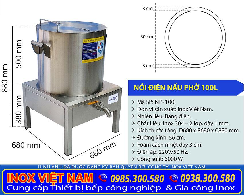 Kích thước nồi điện nấu phở, nồi nấu phở bằng điện 100L NP-100.