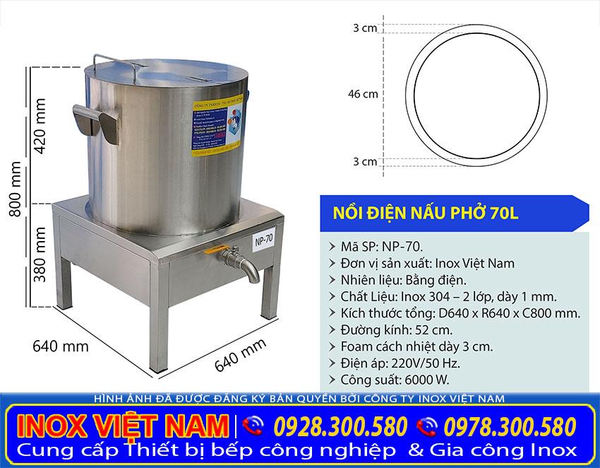 Kích thước của nồi nấu phở bằng điện, nồi điện nấu phở 70 lít NP-70.