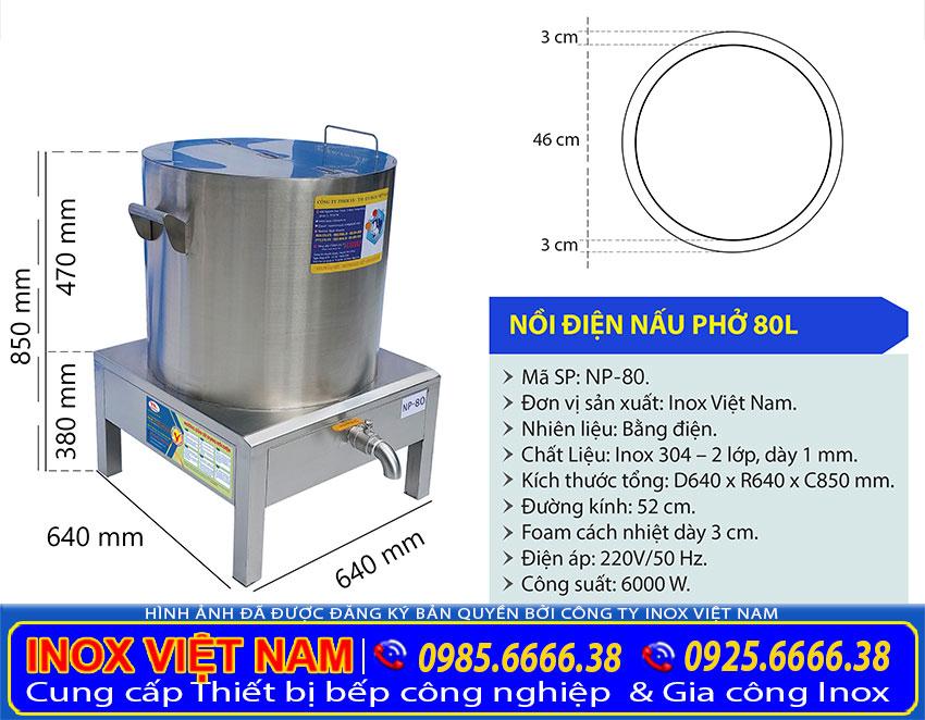 Kích thước nồi nấu nước dùng phở điện, nồi nấu phở bằng điện 80 lít NP-80.