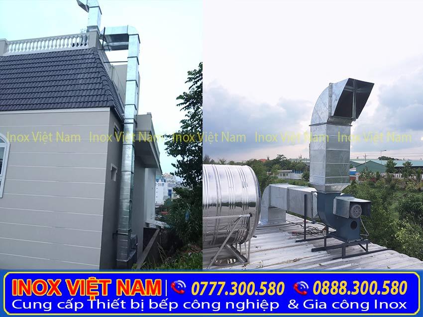 Inox Việt Nam chuyên lắp đặt chụp hút khói bếp công nghiệp nhà hàng, ống hút mùi bếp công nghiệp.
