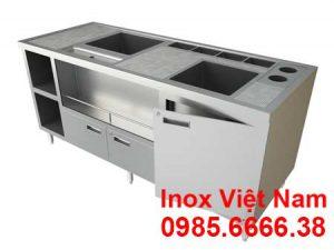 Quầy bar inox, quầy pha chế trà sữa inox QB18003.