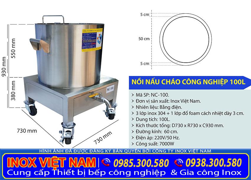Kích thước nồi điện nấu cháo bán, nồi nấu cháo bằng điện công nghiệp 100L NC-100.