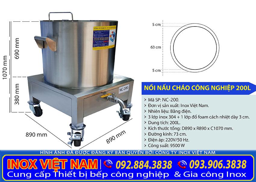 Kích thước nồi nấu cháo bằng điện, nồi điện nấu cháo bán, nồi nấu cháo công nghiệp 200L NC-200.
