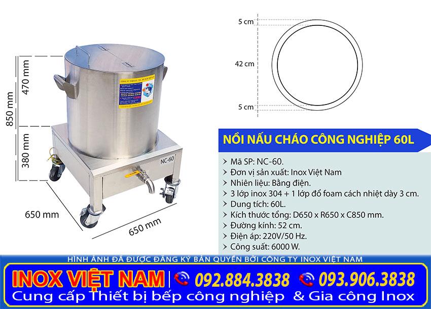 Kích thước nồi điện nấu cháo bán, nồi nấu cháo công nghiệp 60L NC-60.