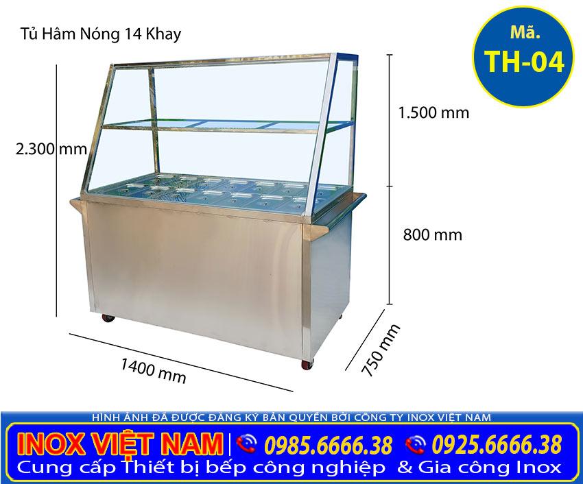 Tủ giữ nóng thức ăn 14 khay inox 304 TH-04.