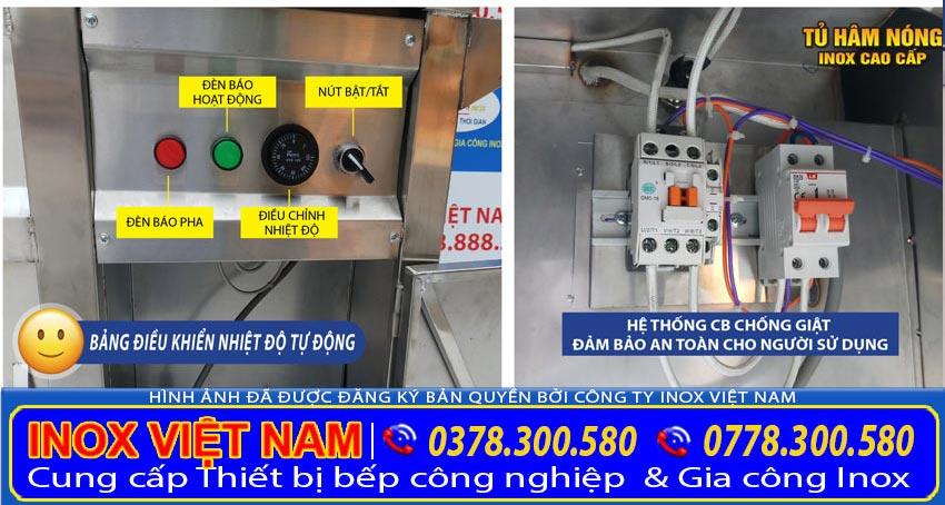 Chi tiết tủ điện của tủ bán cơm hâm nóng, tủ làm nóng thực phẩm của Inox Việt Nam (Ảnh thật tế).