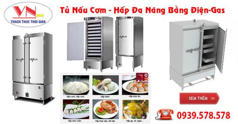 Báo giá tủ nấu cơm, tủ hấp cơm công nghiệp bằng điện và gas giá tốt tại TPHCM.