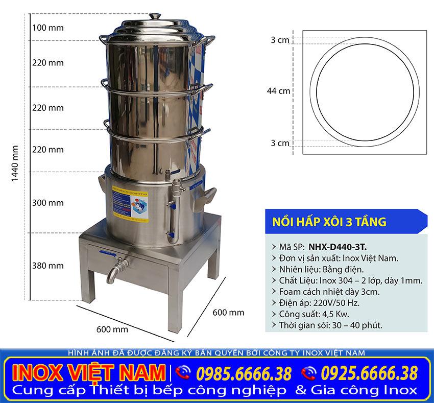 Kích thước nồi hấp xôi điện công nghiệp 3 Tầng NHX-D440-3T