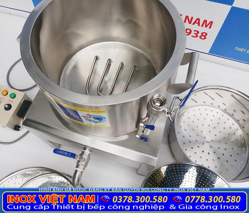Nồi hấp cơm tấm bằng điện với chất liệu inox 304 cao cấp dày 1mm, bền đẹp.