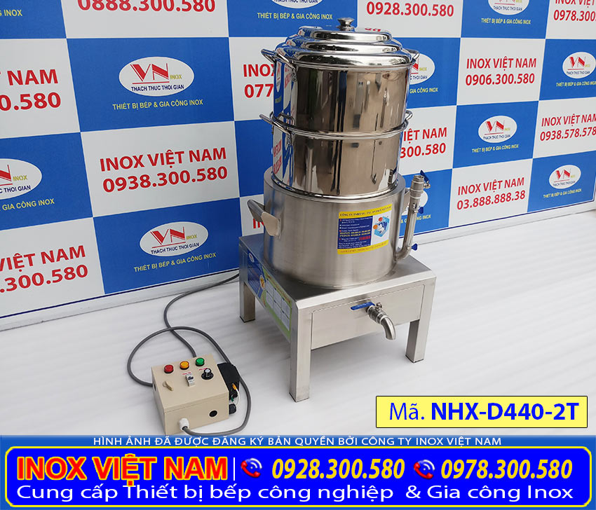 Thiết bị bếp inox công nghiệp - Địa chỉ mua nồi hấp xôi công nghiệp bằng điện 2 tầng NHX-D440-2T, nồi hấp xôi công nghiệp giá tốt tại TPHCM. (Ảnh thật tế).