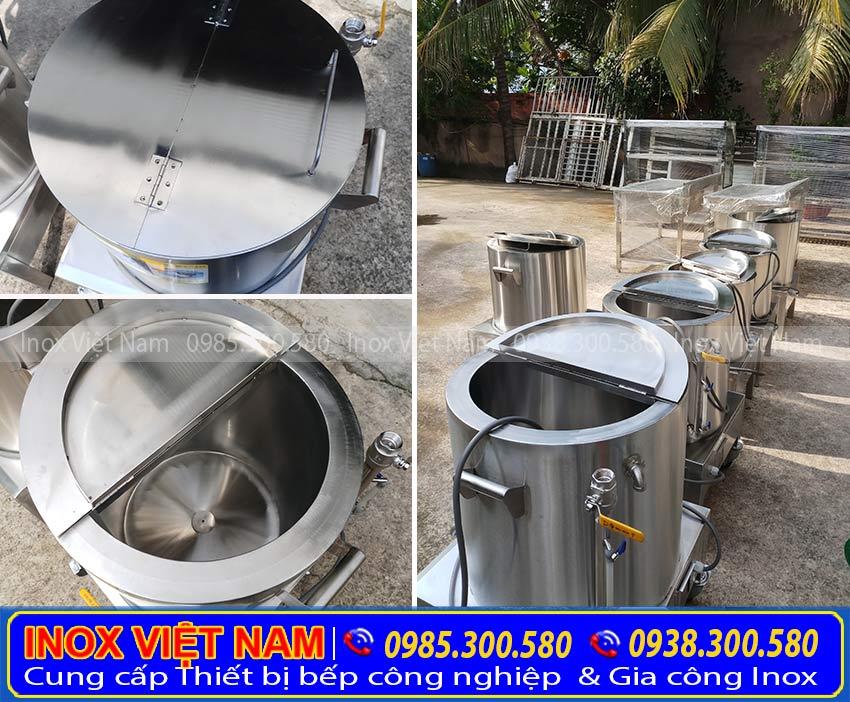 Nồi nấu cháo bằng điện, nồi hầm cháo công nghiệp, nồi điện nấu cháo inox với kiểu dáng đẹp sang trọng. Được sản xuất từ chất liệu inox 304 cao cấp, bền đẹp (Ảnh thật tế).