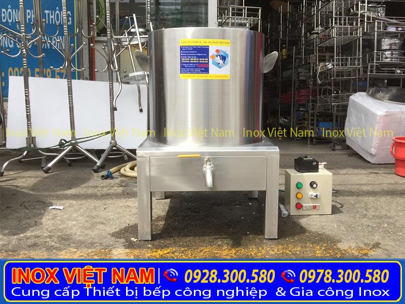 Nồi nấu phở bằng điện 100 lít, nồi hầm xương, nồi nấu nước lèo cao cấp chất lượng. Với chất liệu hoàn toàn từ loại inox 304, cao cấp nhập khẩu.