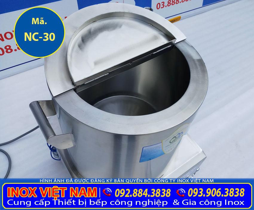 Nồi nấu cháo bằng điện, nồi nấu cháo công nghiệp với 3 lớp inox 304 và 1 lớp Foam cách nhiệt dày 3-5 cm (Ảnh thật tế).
