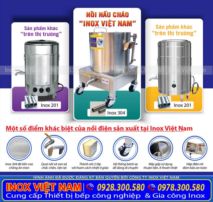 Nồi nấu cháo bằng điện Inox Việt Nam và Nồi cháo điện Trên thị trường